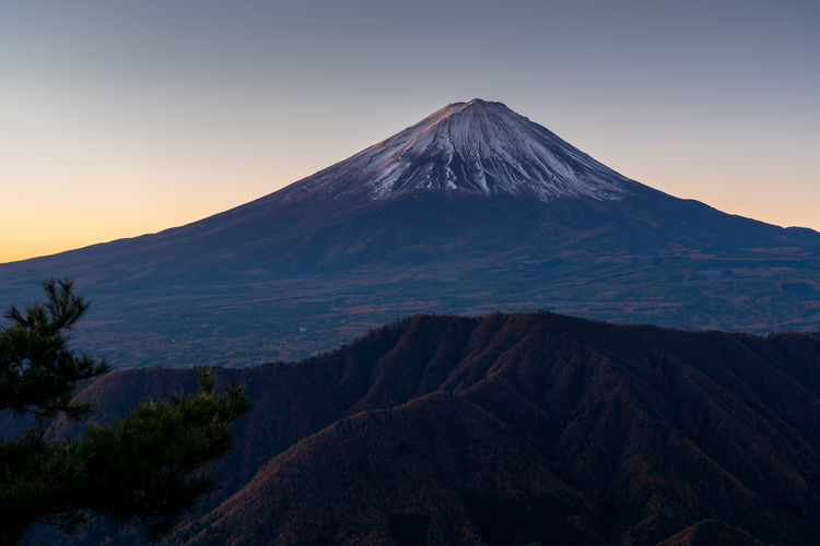 Mt. fuji and the mountains with autumn colors