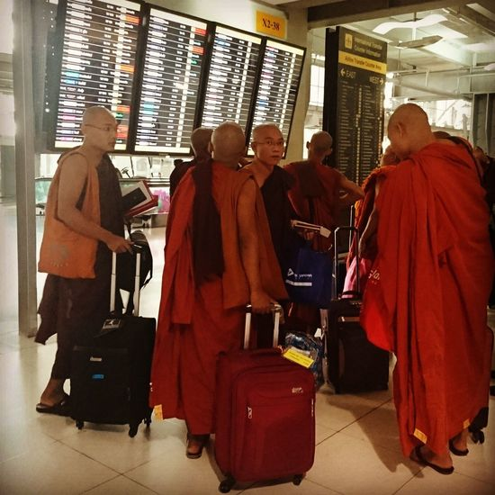 Monks on the road. Silvia In Myanmar Myanmar Traveling Is Discovering Travel Photography Traveling Monks Airportphotography Airport Life Check This Out Taking Photos Burma ASIA TakeoverContrast
