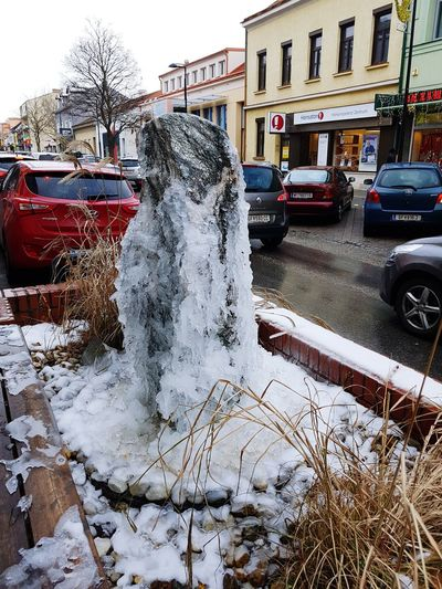 Ice sculpture in town! Outdoors Beauty In Nature Ice Ice Sculpture Brunnen Frozen Nature Fountain
