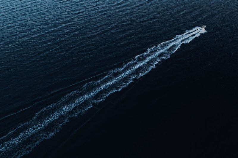 Boat Nature Drone  Landscape Aerial View Outdoors View Scenery Point Of View High Angle View Water Sea Motion Speed Blue Wave Diagonal Day Summer Sport