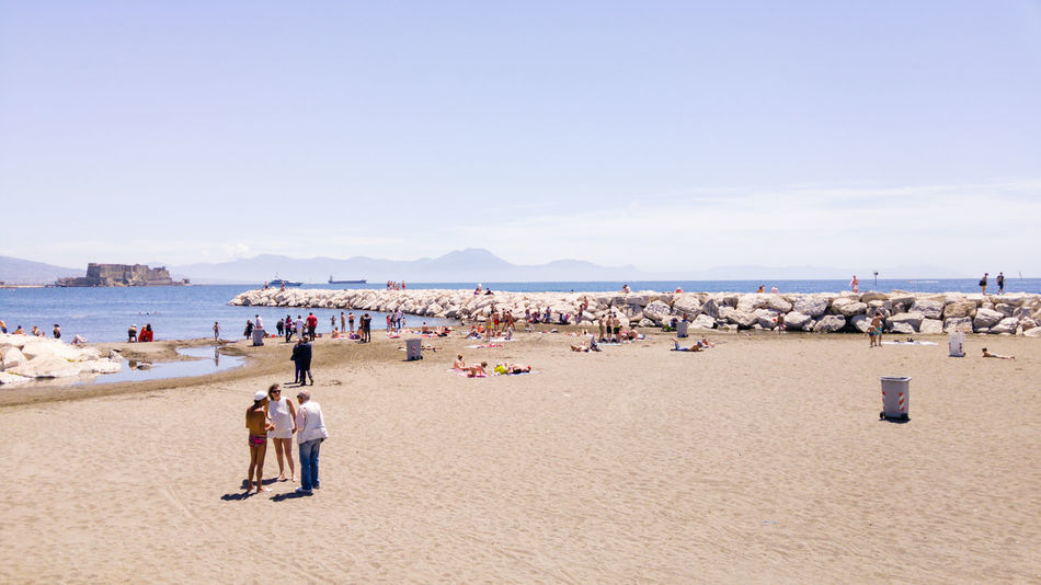 Beach in the city of Napoli, Italy Bay Of Naples, Italy. Beach Beauty In Nature Large Group Of People Naples, Italy Napoli Scenics Sea Live For The Story