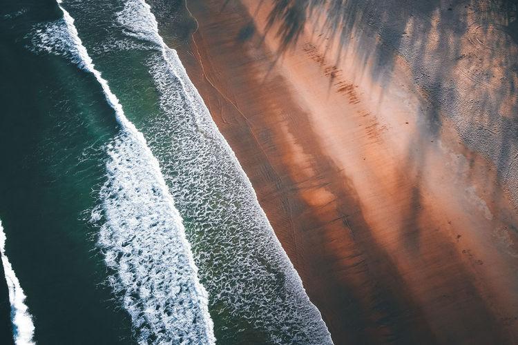 Sunlight falling on sea shore