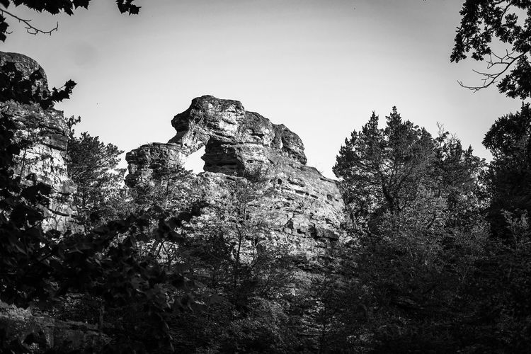 Rock Formation Bridge Tree Pixelated Silhouette Sky Woods
