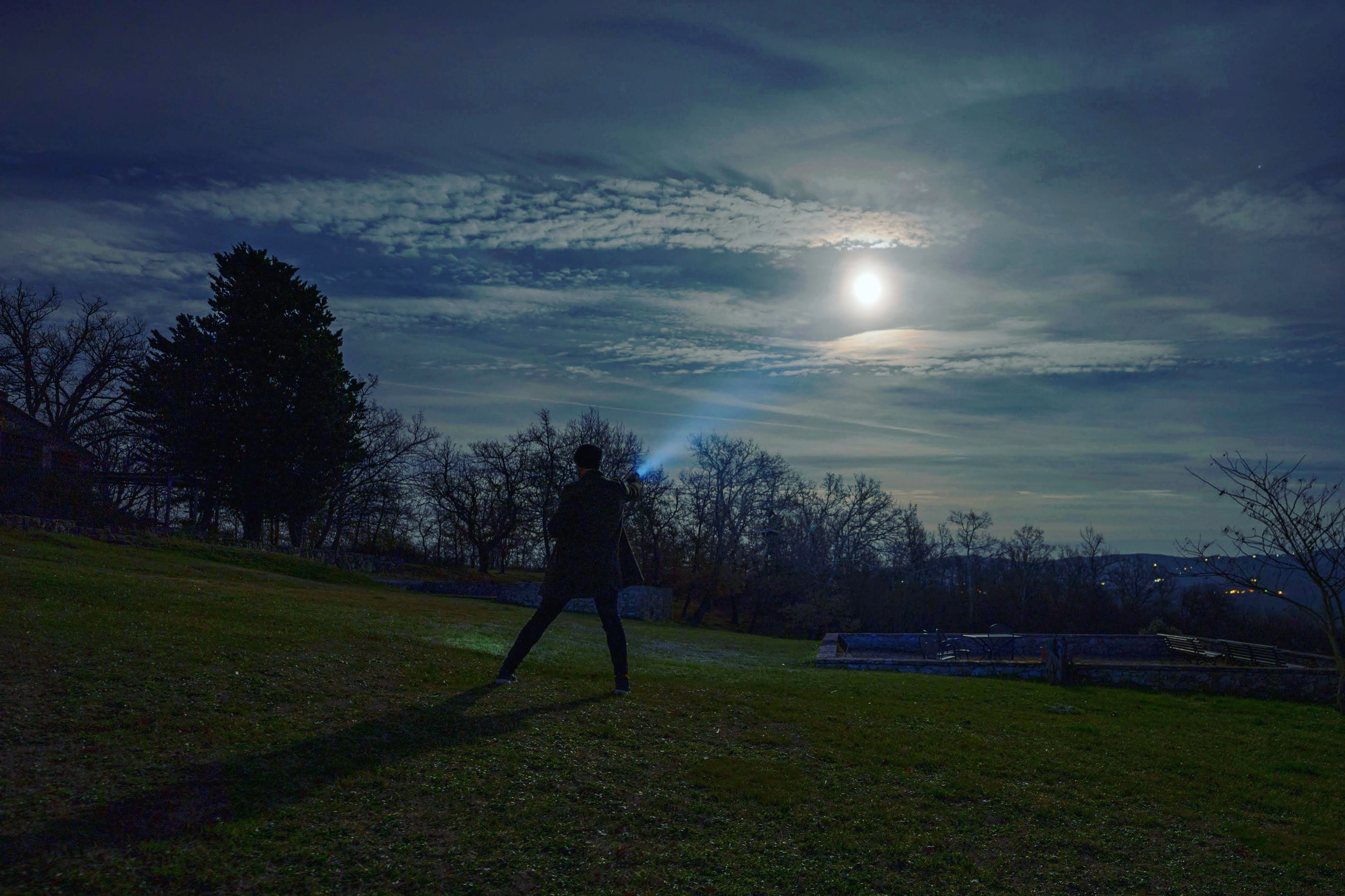 sky, plant, cloud - sky, one person, tree, grass, nature, full length, beauty in nature, land, real people, field, silhouette, lifestyles, standing, leisure activity, moon, sun, tranquility, outdoors