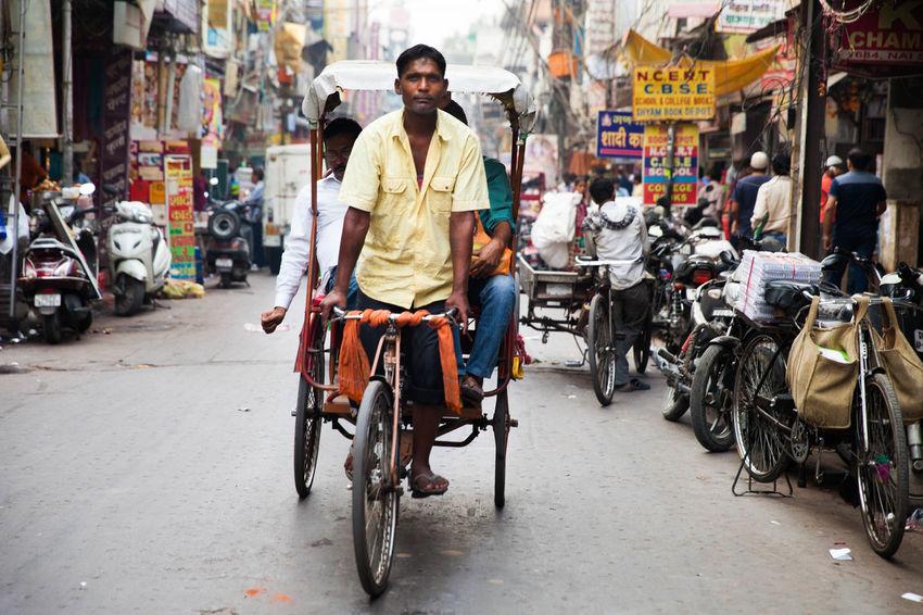 Indian Culture  New Delhi Spice Bazaar Indian Man Indian Transport Rickshaw