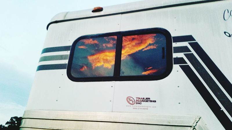 Horse Trailer Sunset Sunset And Clouds  Sunset Photography Window Sunshine Window Sun Sky