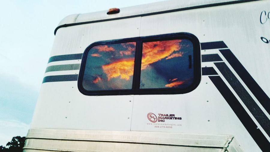 Horse Trailer Sunset Sunset And Clouds  Sunset Photography Window Sunshine Window Sun Sky