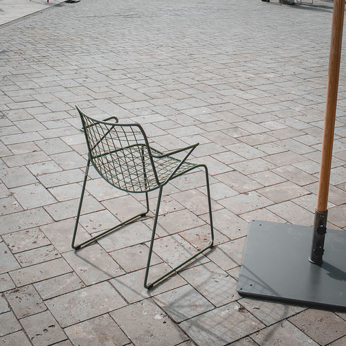 High angle view of chairs on table