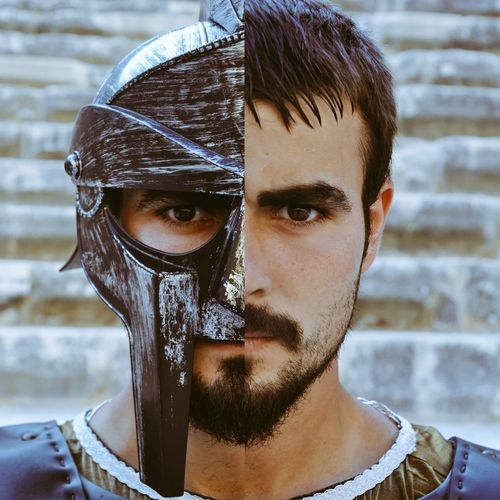 Gladiator Gladio Mask Maskoff One Man Only Only Men Adults Only Portrait Adult Headshot Individuality Fashion Human Face One Person Angry Looking At Camera Look Looking Handsome People Front View Beautiful People Looking At Camera Human Body Part Young Adult