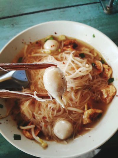 Close-Up Of Noodle Soup