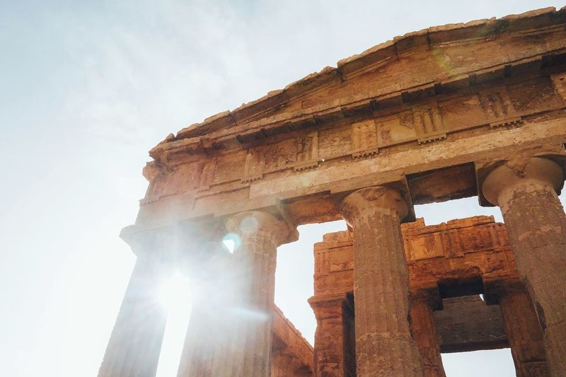 Greek Ruins Sicily Greek Style Old Building  Summer Sun Temple Temple - Building Temple Architecture