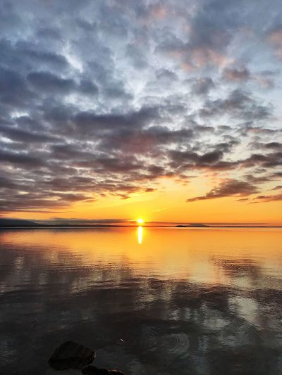 Sunset Sky Water Scenics - Nature Beauty In Nature Tranquility Sea Orange Color Cloud - Sky Tranquil Scene Horizon Over Water Idyllic Reflection Sun Horizon Nature No People Sunlight Beach Outdoors