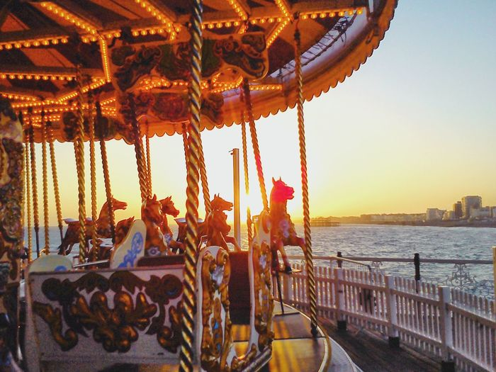 Carousel Horses At Sunset