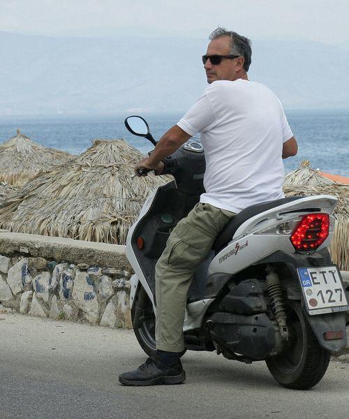 Man Motorcycles Beachfront Location Blue Sky Cool Dude Corfu