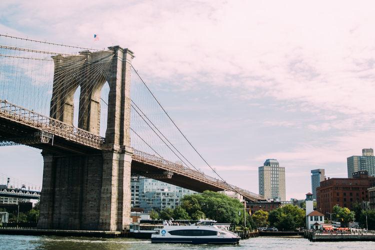 New York Brooklyn Bridge  Built Structure Bridge River Outdoors City Connection Architecture Travel