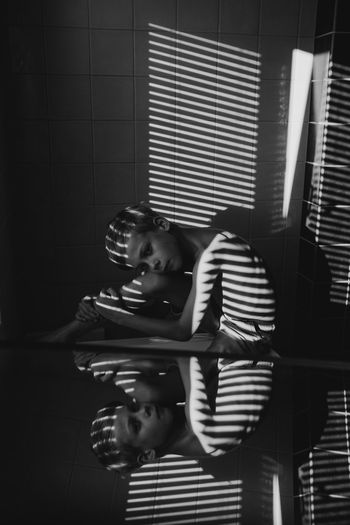 Boyhood Mirror Reflection The Portraitist - 2018 EyeEm Awards The Week on EyeEm Child Childhood Family Indoors  Lifestyles People Portrait Real People Striped Teenager Togetherness Young Adult The Portraitist - 2018 EyeEm Awards