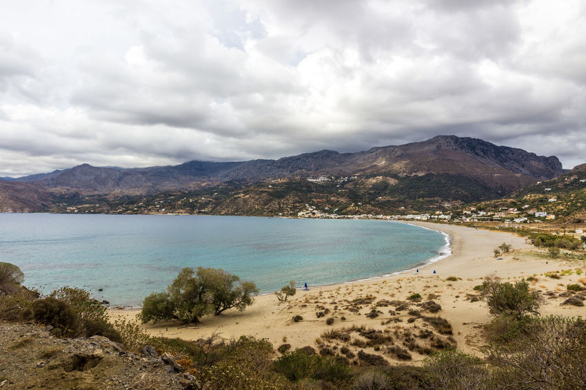 Plakias beach, south Crete, Greece Crete Greece Greece, Crete Growth Holiday Holidays Bay Beach Beauty In Nature Clouds And Sky Crete Dune Greece Landscape Mountain Mountain Range Nature No People Plakias Sand Sand Dune Scenics Tourism Tranquil Scene Tranquility Travel Destinations
