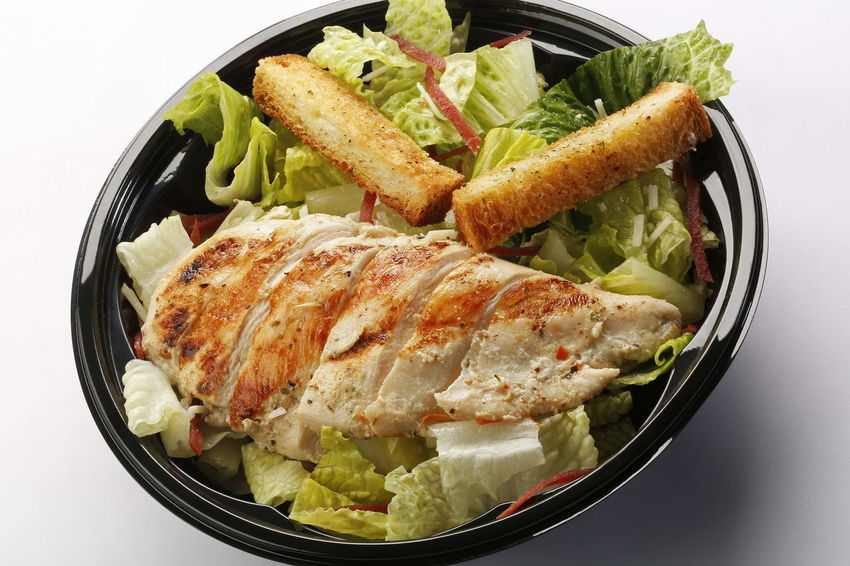 Chicken ceaser salad with crouton Chicken Salad Food Freshness Healthy Eating High Angle View Indoors  Lettuce No People Ready-to-eat Studio Shot Vegetable White Background