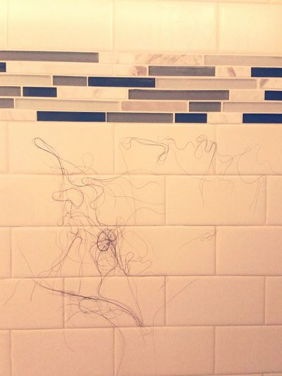 Found a creature in my shower stall....looks like Bambi's dad. Showerart Shower Scene Hairart Wifeyshair isthisart