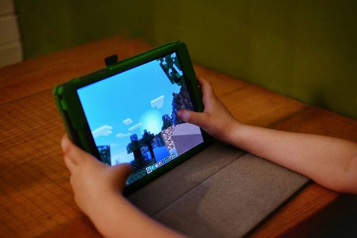 Killing time Minecraft Nexus9 Kids Being Kids Waiting For Food Country Life MidWest Kansas Videogames Tablet On The Road