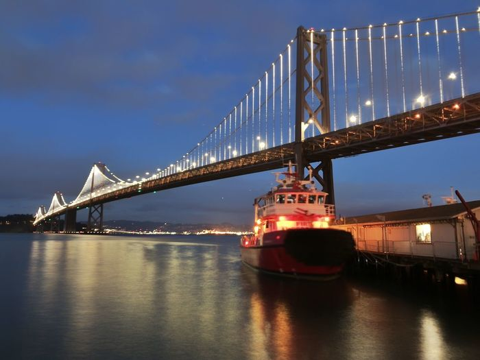 Bay bridge at night Blue Hour Landscape Lights Boat Transportation Built Structure Architecture Water Sky Illuminated Bridge Bridge - Man Made Structure Night Travel Destinations Connection Nature Waterfront Engineering Travel City Reflection Outdoors