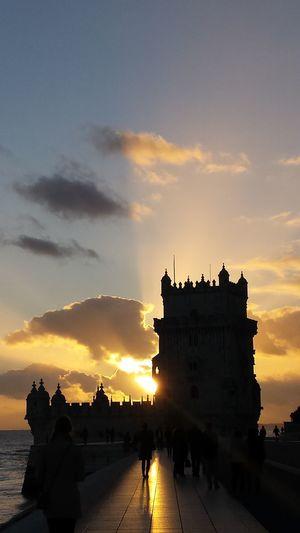 Lisboa Castle Sunset Belem Tower Lisbon - Portugal Torre De Belém Silhouettes
