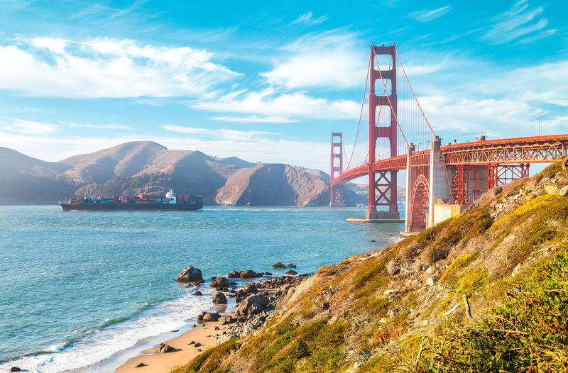 Golden gate bridge over sea against clear sky
