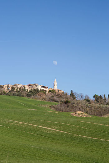 Pienza Pienza (toscana) Paesaggio Crete Senesi Siena Val D'orcia Cypresses Sky Land Plant Grass Nature Green Color Landscape Environment Beauty In Nature Copy Space No People Field Blue Scenics - Nature Clear Sky Tranquility Tranquil Scene Day Moon Non-urban Scene Outdoors