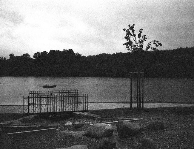 Analogue Photography Grainy Images Analog Photography Beauty In Nature Black And White Grain Day Goal Post Grainy Nature No People Outdoors Scenics Sky Tranquility Tree Water