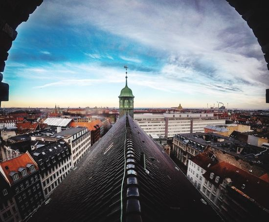 Top of Copenhagen Rooftop Roof Copenhagen Architecture Built Structure Building Exterior Sky Cloud - Sky No People High Angle View Outdoors Day Cityscape City Travel Destinations