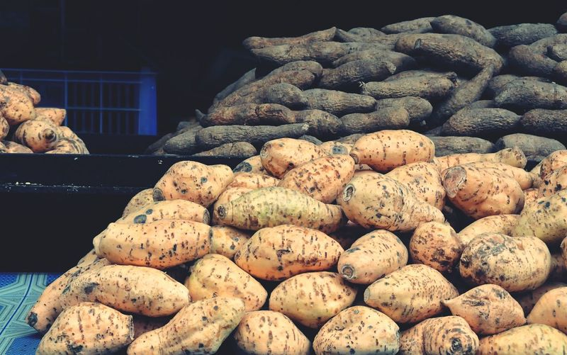 Close-up of sweet potatoes for sale at market