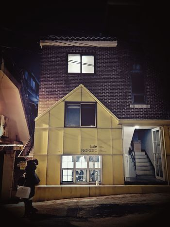 Streets of Itaewon 2:4 Built Structure Low Angle View Building Exterior Real People Indoors  One Person People IPhoneography Night Street Photography Streetphotography Freezing Frozen Street Seoul, Korea Seoul Itaewon Nightphotography Cold Temperature Architecture Snow Asian Architecture Street Life Saturdaynight People Photography Outdoors