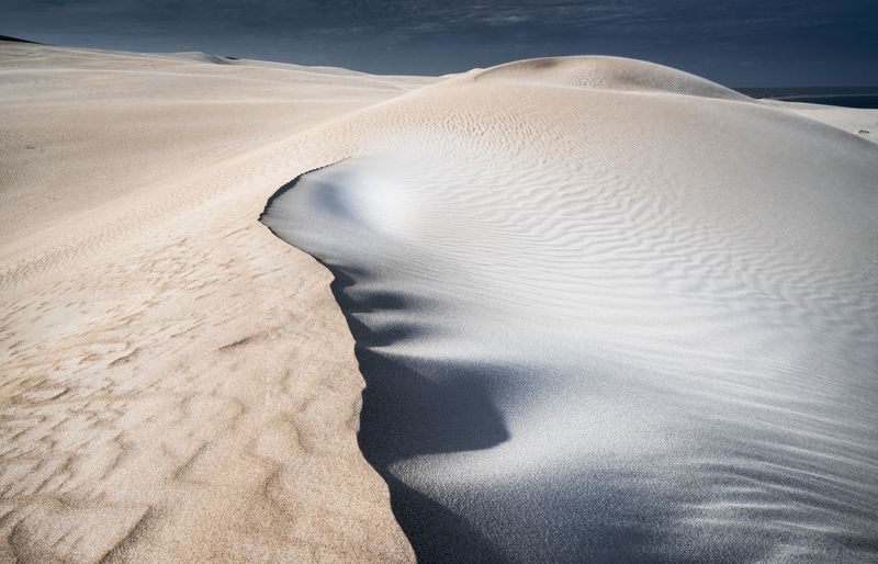 High angle view of sand dunes at desert