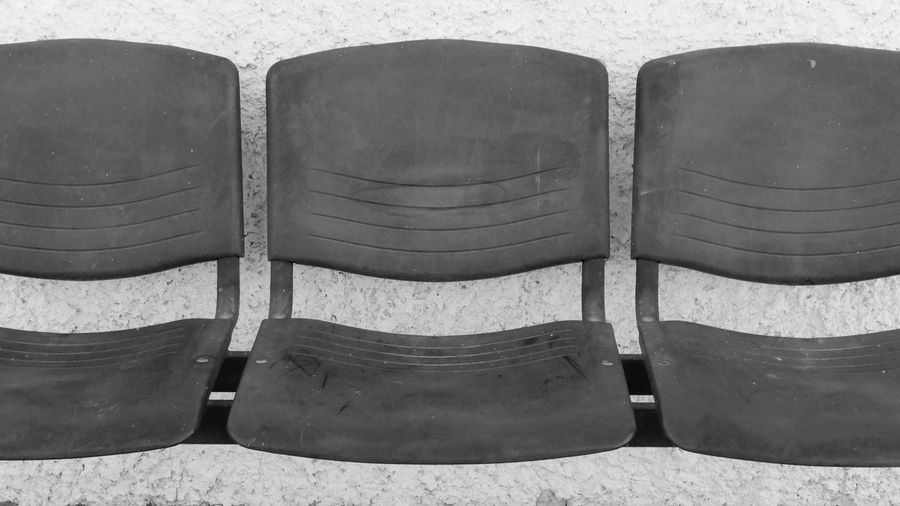 Seat Chair Side By Side No People Day Absence High Angle View Empty In A Row Order Outdoors Repetition Arrangement Sunlight Nature Three Objects Relaxation Group Of Objects