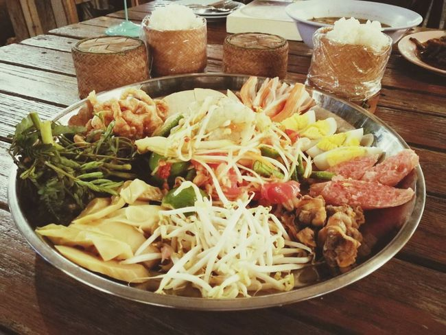 Food And Drink Food Table Freshness Indoors  No People Healthy Eating High Angle View Ready-to-eat Bowl Plate Close-up Day ตำถาด