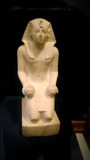 The king Tohotmos III Pharaoh The Egyptian Museum Black Background Statue History Ancient Close-up Male Likeness Ancient Egyptian Culture Golden Color