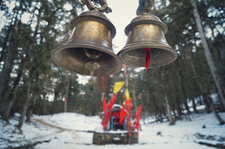 Wood Snow Trekking Forest Bells Photography Nature Tree Temple Temples Bronze Winter Wanderlust Outdoors Into The Woods Religious  Hindu Hindu Temple Wintertime Winter Wonderland Focus RedFlags Redflag Focused Beauty In Nature