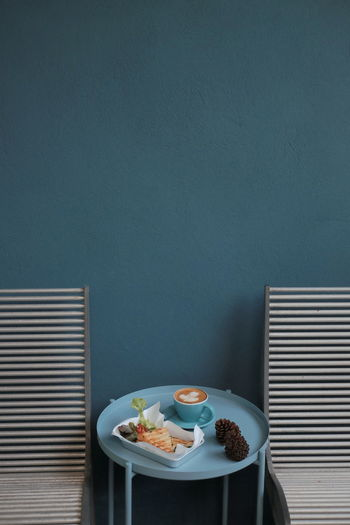 High angle view of food on table against wall