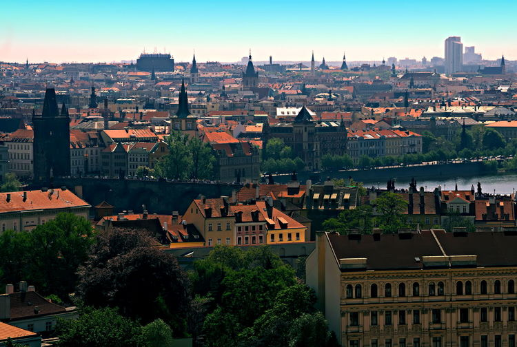 Charles Bridge City Cityscape Czech Republic Famous Gothic Old Town Bridge Tower Panorama Panoramic View Prague Prague Bridge Vltava River Bridge Capital Europe Historic Medival River Stone Bridge Unesco