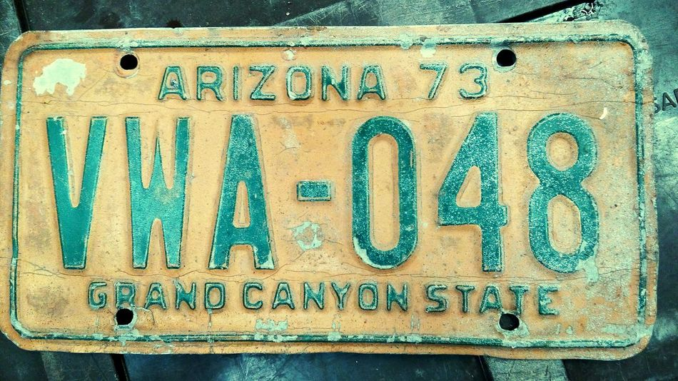 Arizona 73 Text Western Script Communication Capital Letter Full Frame Close-up Outdoors Blue Day Weathered Man Made Object No People Placas