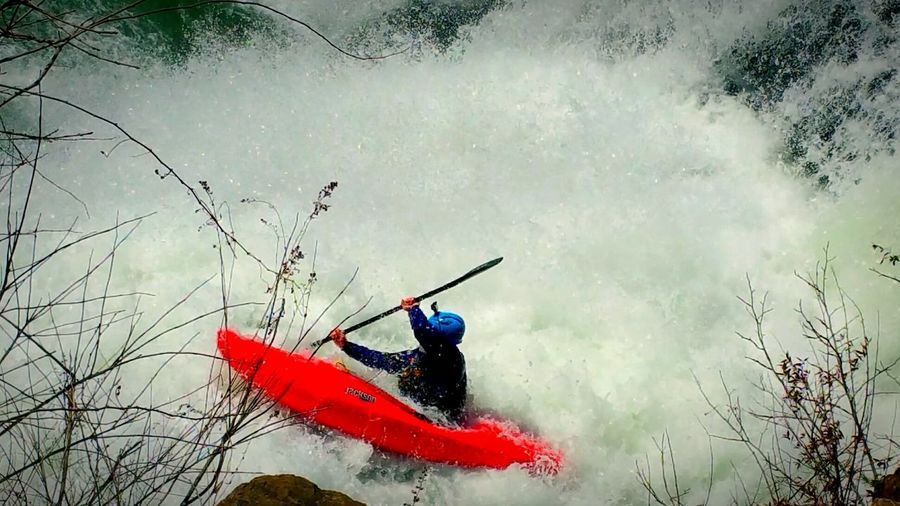 Refreshing Check This Out Kyacking Braving The Elements Sport Outdoor Sport Kayak Waterfall_collection Water Waterfall Elements Nature_collection Nature Excitement Dangerous Thrill Red Broiling Waters