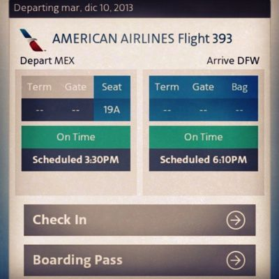 Americanairlines Flight Booked Mexico to dallas dfw trip december
