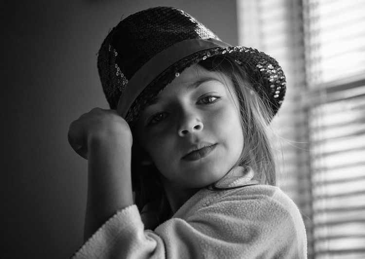 Black And White Child Childhood Clothing Hat Headshot Human Face Indoors  Innocence Looking One Person Portrait Real People Tango Tango Hat