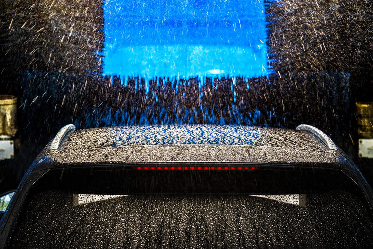 car wash Cleaning Equipment Darkness EyeEmNewHere Reflection Splashing Water Automatic Blue Brush Car Car Wash Abstract Clean Day Locked In Locked In A Small Cage No People Outdoors Water Water Surface