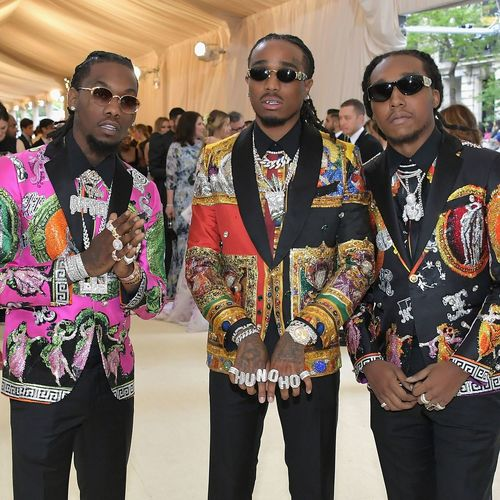 Famous HipHop Rappers Rapper Celebrity Migos METGala Fashion Sunglasses Glasses Three Quarter Length Group Of People Front View Young Adult Young Men Adult Arts Culture And Entertainment Men