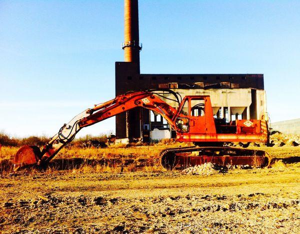 Industrial Urban Landscape Old Buildings Power Shovel Caterpillar Chimney