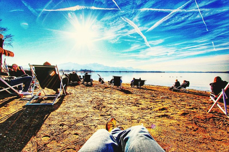 Just relax Beach Lake Lake View Mountain Range Blue Sky Hanging Out Relax Sunchair Chemtrails Bluesky Bavarian Alps