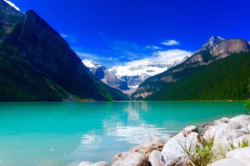 Lake Louise Lake Louise Water Nature Mountain Snow Hill Trees Boats Pathways Canada Vancouver