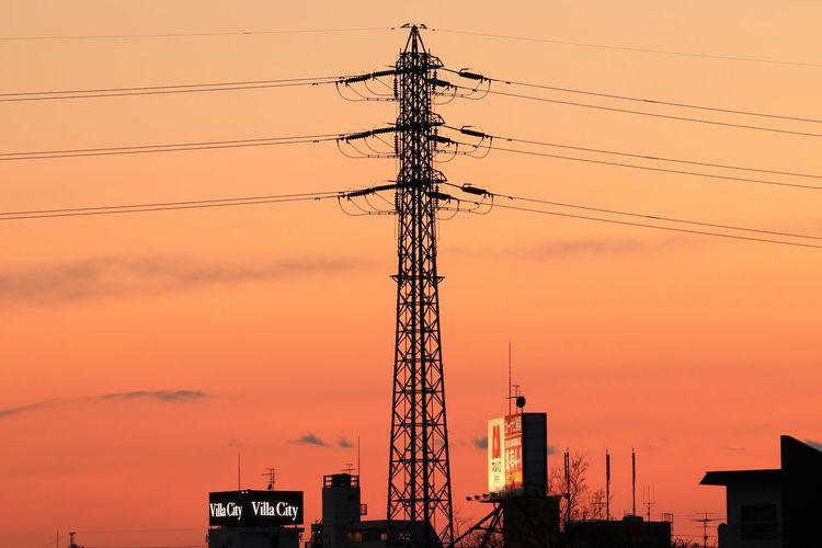 Sunset Landscape Sunset_collection Sunsets Japan Tower Steel Tower  Highvoltage Orange Sky