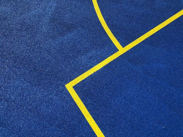 Road High Angle View Yellow Full Frame Symbol Road Marking Blue